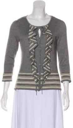 Magaschoni Knit Ruffle Cardigan