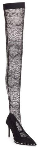 Women's Alexander Wang Lyra Thigh-High Fishnet Stocking Pump
