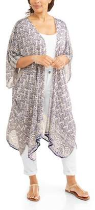 Light & Sound Women's Plus Long Printed Kimono