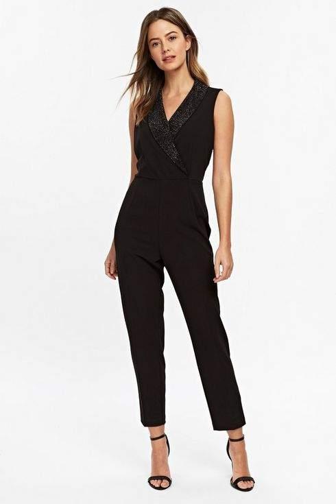 Petite Black Diamante Tuxedo Jumpsuit