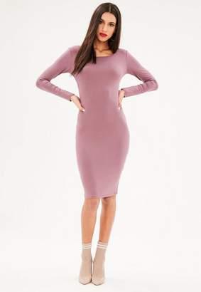 Missguided Purple Long Sleeve Bodycon Dress