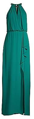 BCBGMAXAZRIA Women's Halter Keyhole Side Slit Gown