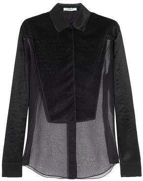 Givenchy Pleated Shell-Paneled Silk-Organza Shirt
