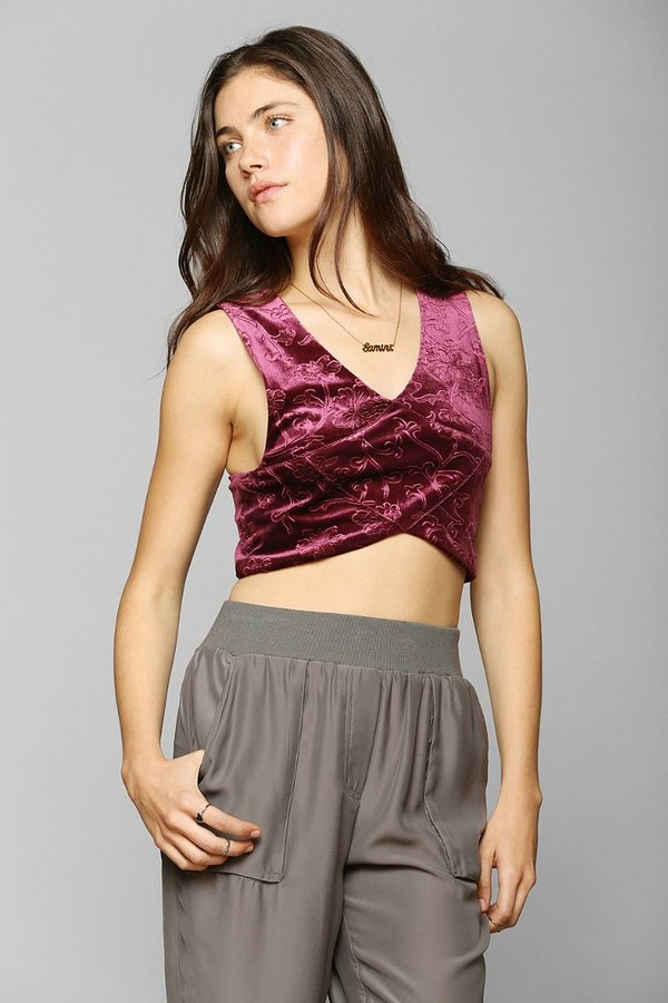 Urban Outfitters Staring At Stars Crisscross Velvet Cropped Top