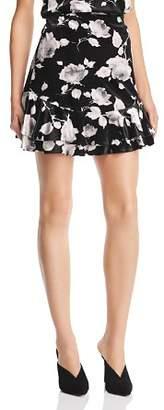 Aqua Floral Velvet Double-Ruffle Mini Skirt - 100% Exclusive
