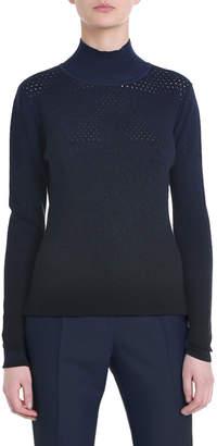 Fendi Perforated Wool-Cashmere Turtleneck Sweater