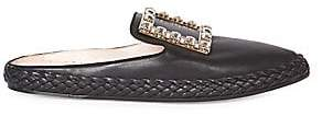 Roger Vivier Women's Lounge Embellished Leather Buckle Mules