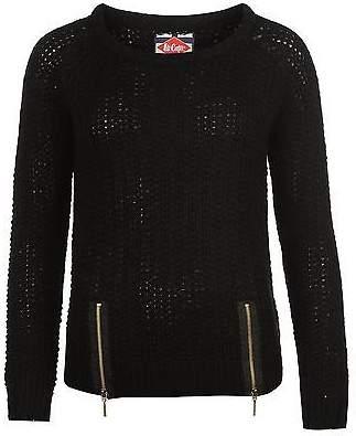 Lee Cooper Womens Zip Hem Knit Ribbed Pullover Long Sleeve Crew Neck Top