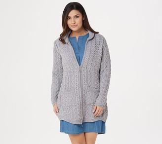 Aran Craft Merino Wool Zip-Front Cardigan with Back Pleat