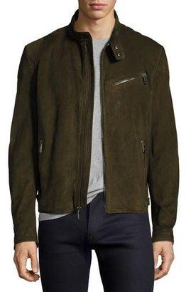 Ralph Lauren Suede Café Racer Jacket, Olive Green $3,495 thestylecure.com