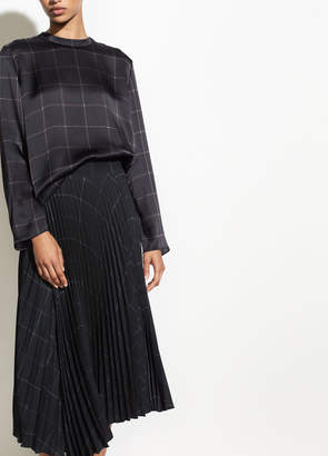 Grid Plaid Drape Pleated Skirt