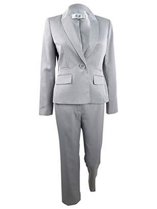 Le Suit Women's Plus Size 1 Button Peak Lapel Herringbone Pant Suit