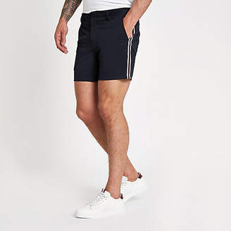 River Island Navy tape side slim fit chino shorts