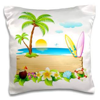 3dRose Tropical beach scene with surfboards, shells, sun, palm trees and more - Pillow Case, 16 by 16-inch