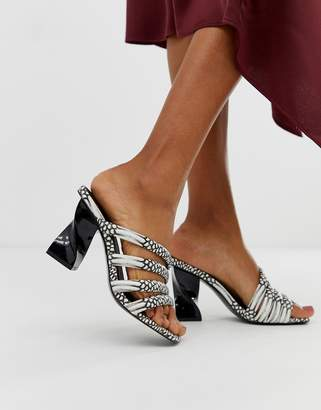 Asos Design DESIGN Hyphen tubular block heeled sandals
