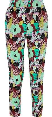 Etro Cropped Floral-print Washed-silk Tapered Pants