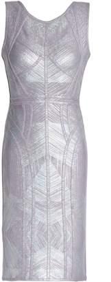 Herve Leger Annette Metallic Coated Bandage Mini Dress