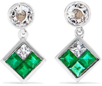 Ileana Makri Dangling Rhombus 18-karat White Gold, Sapphire And Emerald Earrings