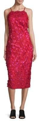Carmen Marc Valvo Embroidered Floral Dress