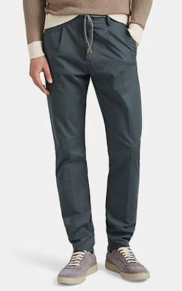 Eleventy Men's Cotton Twill Drawstring Slim Trousers - Green