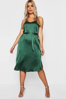 boohoo Plus Satin Belted Midi Dress
