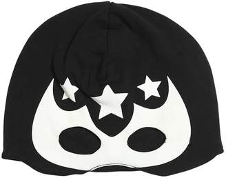 Superhero Print Cotton Jersey Mask Hat