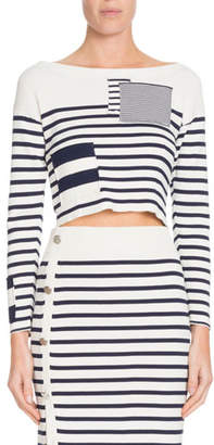 Altuzarra Crewneck Long-Sleeve Patchwork Striped Cropped Sweater