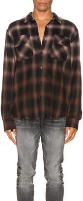 Amiri Ombre Plaid Shirt in Khaki   FWRD