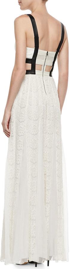 Alice + Olivia Sveva Lace-Bustier Cutout Maxi Dress
