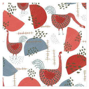 Quirky Roosters Self-Launch Wrapping Paper