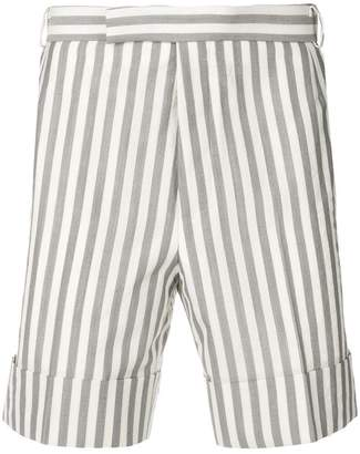 Thom Browne Wide Stripe Cuffed Wool Short