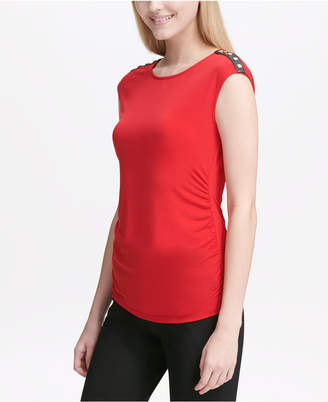 Calvin Klein Embellished Mixed-Material Sleeveless Top