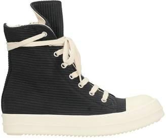 Drkshdw Black Wool Ramones Sneakers