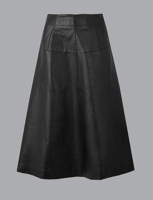 Marks and Spencer Leather Fit & Flare Midi Skirt