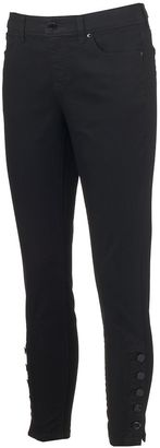 Women's Jennifer Lopez Button-Hem Skinny Ankle Jeans $54 thestylecure.com