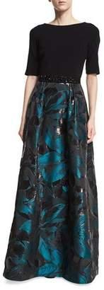 Rickie Freeman For Teri Jon Crepe Top Jacquard Skirt Beaded-Belt Evening Gown