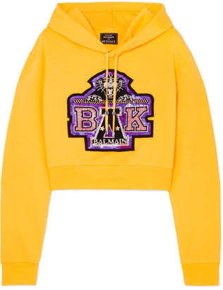 Balmain Cropped Embellished Stretch-cotton Jersey Hooded Top - Yellow