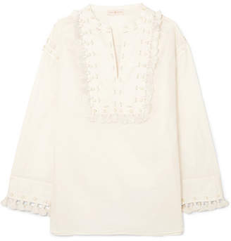 Tory Burch Lizzie Embellished Cotton-gauze Tunic - Ivory