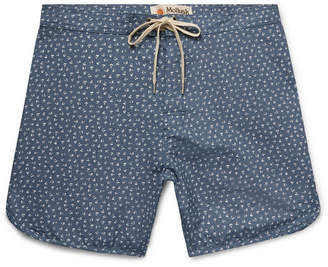 Mollusk Slim-Fit Mid-Length Printed Cotton-Blend Chambray Swim Shorts