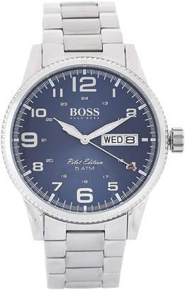 HUGO BOSS 1513329 Silver-Tone & Blue Vintage Pilot Watch
