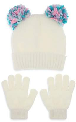 Capelli Girls' Double Pom-Pom Hat & Gloves Set - Little Kid, Big Kid