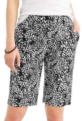 Caribbean Joe Women's Pineapple Printed Bermuda Shorts