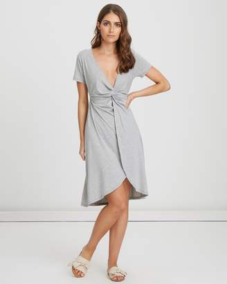Atmos & Here Knot Front Jersey Midi Dress