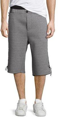 Public School Mayu Neoprene Sweat Shorts, Gray/Black $395 thestylecure.com
