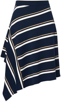 Paisie Striped Asymmetric Skirt With Side Drape In Navy Gold & White