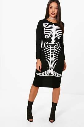 ef61f8937916f boohoo Ella Halloween Mermaid Skeleton Midi Dress