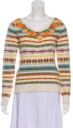 Max Mara Weekend Embroidered V-Neck Sweater