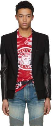 Balmain Black Leather Mix Blazer