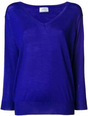 Prada wide V-neck jumper