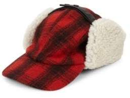 Crown Cap Plaid& Shearling Fur Trapper Hat